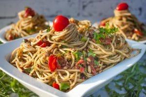 mediterraner Spaghettisalat