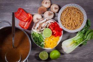 Gemüse für die Ramen Suppe