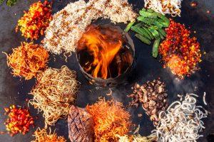 asiatische Nudeln auf der Feuerplatte