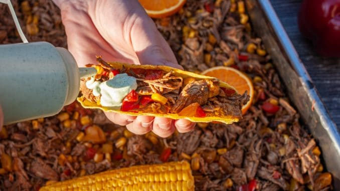 Mexikanisches Pulled Pork im Taco Shell