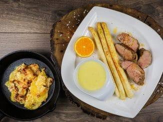 Schweinefilet mit Spargel und Kartoffelauflauf