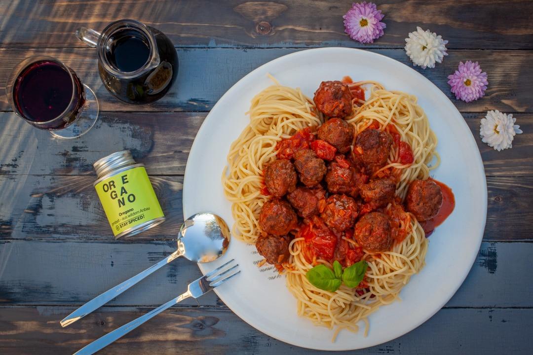 Hackbällchen mit Spaghetti