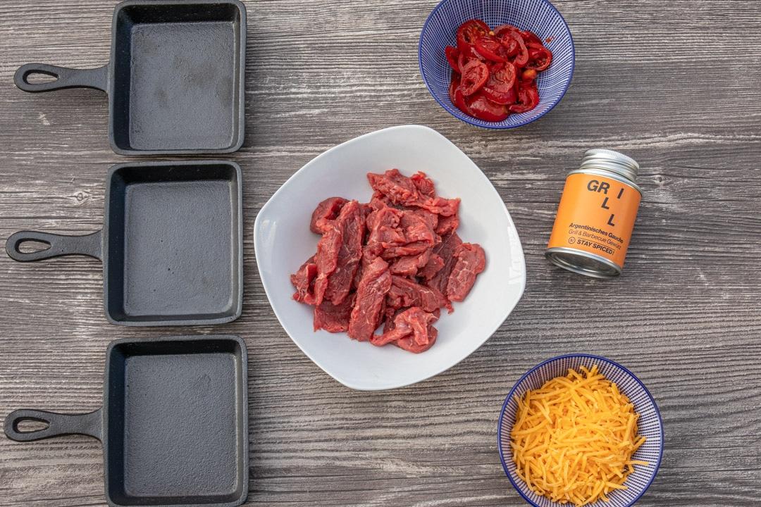 Zutaten für Raclette mit Steak
