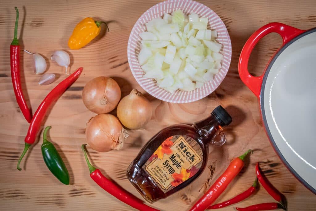 Zutaten für Chili con carne ohne Bohnen