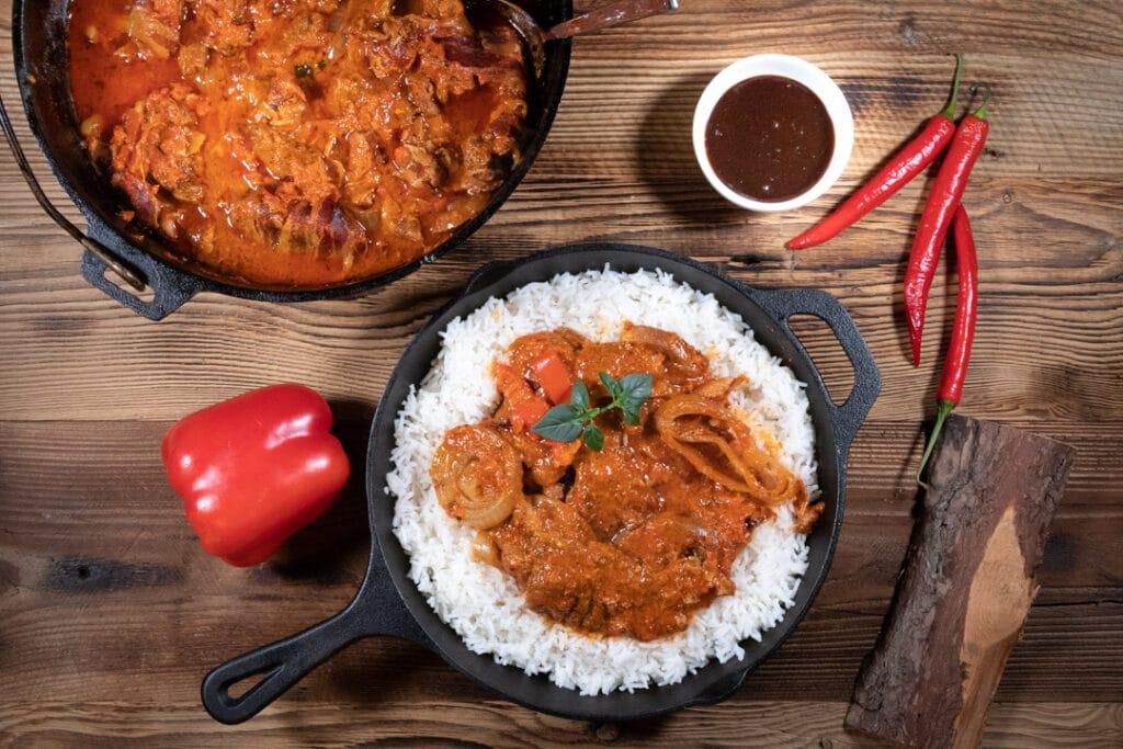 Schichtfleisch mit Reis